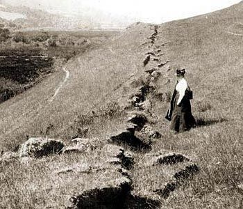 In 1906, a massive magnitude 7.9 earthquake ruptured the entire San Andreas Fault in Northern California. That is a huge running crack in the ground.